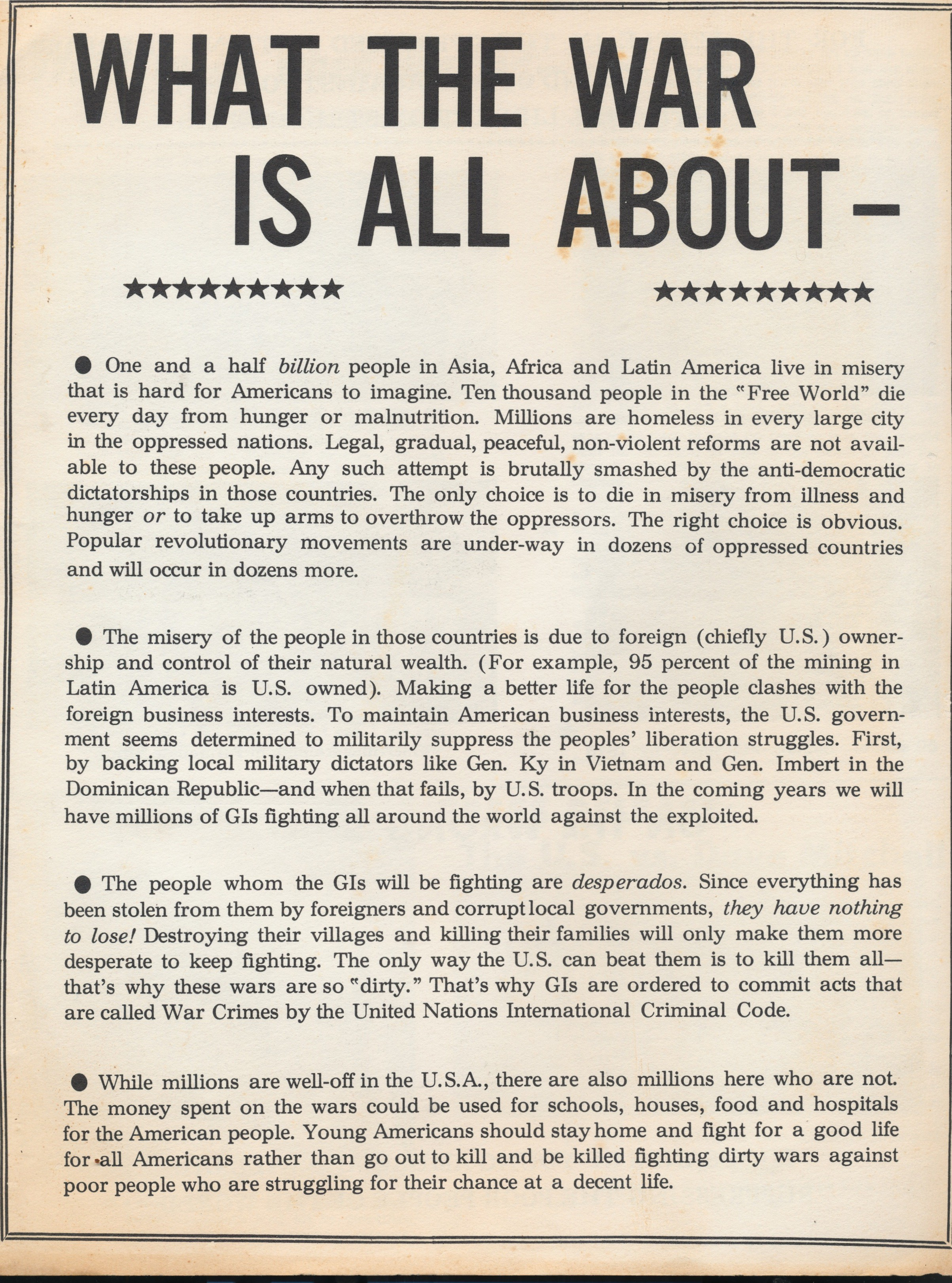 """""""What the War is All About""""  Students for a Democratic Society 60s Leaflet"""